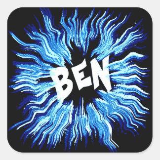 Ben-Namen-Stern im Blau Quadratischer Aufkleber