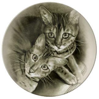 Bengalische Katzen-Paare: Bleistift-Zeichnen Teller Aus Porzellan