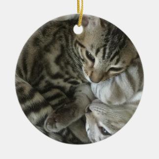 Bengalische Katzen-Weihnachtsverzierung Keramik Ornament