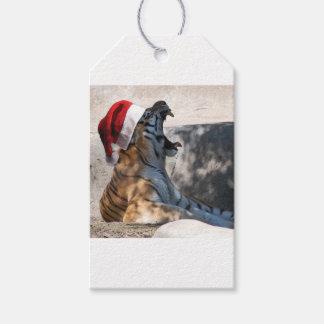Bengalischer Tiger, der eine Weihnachtsmannmütze Geschenkanhänger