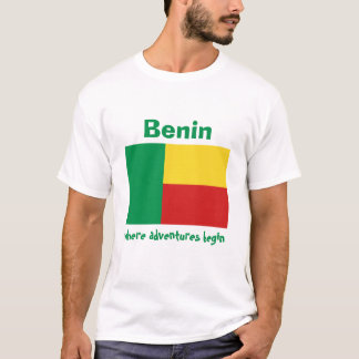 Benin-Flagge + Karte + Text-T - Shirt
