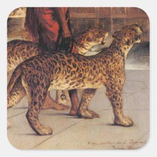 Benjamin Constant-Schlosswache mit zwei Leoparden Quadratischer Aufkleber