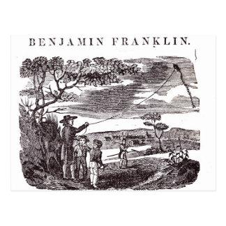 Benjamin Franklin leitet sein Drachen-Experiment Postkarte