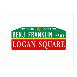 Benjamin Franklin/Logan, PA-Straßenschild Postkarte