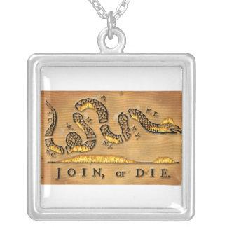 Benjamin Franklin verbinden oder sterben politisch Personalisierte Halskette