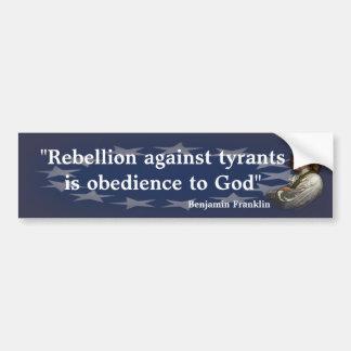 Benjamin Franklin-Zitat auf Aufstand Autoaufkleber