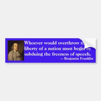 Benjamin Franklin-Zitat auf Redefreiheit Autoaufkleber