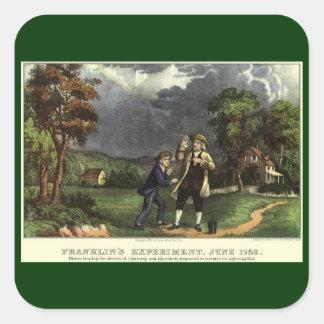 Benjamin Franklins Drachen-und Blitz-Experiment Quadratischer Aufkleber