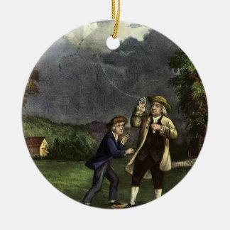 Benjamin Franklins Drachen-und Blitz-Experiment Rundes Keramik Ornament