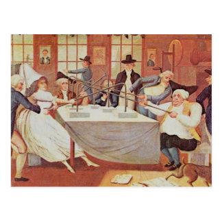 Benjamin Franklins Experimente mit Strom Postkarte