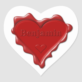 Benjamin. Rotes Herzwachs-Siegel mit Herz-Aufkleber