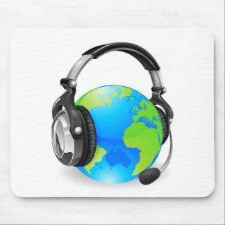 Beratungsstellekopfhörer-Weltkugel Mauspads