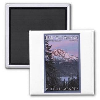 Berchtesgaden - Watzmann Alpenglow Quadratischer Magnet