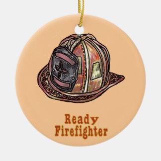 Bereiter Feuerwehrmann Rundes Keramik Ornament
