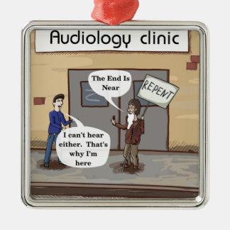 Bereuen Sie für das lustige Audiologe-Büro Silbernes Ornament