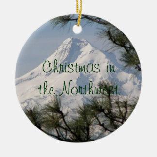 Berg-Hauben-Foto-Weihnachtsverzierung Rundes Keramik Ornament