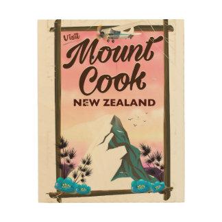 Berg-Koch-Neuseeland-Reiseplakat Holzwanddeko