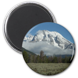 Berg Moran und Wolken bei großartigem Teton Runder Magnet 5,1 Cm