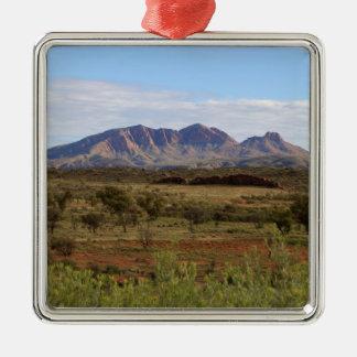 Berg Sonder, zentrales australisches Hinterland Quadratisches Silberfarbenes Ornament