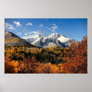 Berg Timpanogos in Herbst-Utah-Bergen Poster