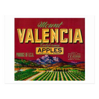 Berg Valencia Apple beschriften - Watsonville, CA Postkarte