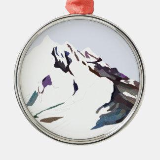Berge im kalten Entwurf Silbernes Ornament