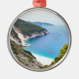 Berge und Meer in der griechischen Bucht Silbernes Ornament