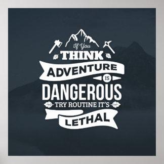 Bergsteigenabenteuer Programm ist tödlicher Typo Poster
