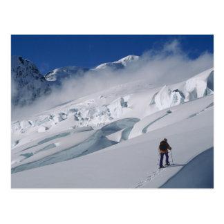 Bergsteiger auf dem Tasman Gletscher im Berg Postkarte