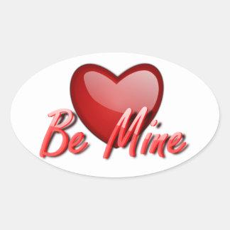 Bergwerk der Valentinsgruß-Stickers/Be Ovaler Aufkleber