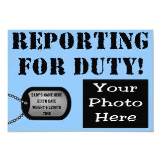 Bericht für Aufgabenmilitärgeburtsmitteilung Karte