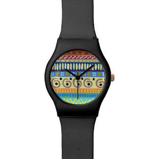 Berimbau Stammes- Entwurfs-Schwarz-Mattuhr Armbanduhr