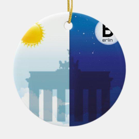 Berlin bei Tag und Nacht - Brandenburger Tor Rundes Keramik Ornament