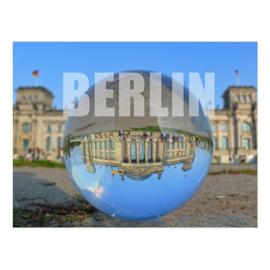 BERLIN - seen through the crystal ball, Reichstag Postkarte