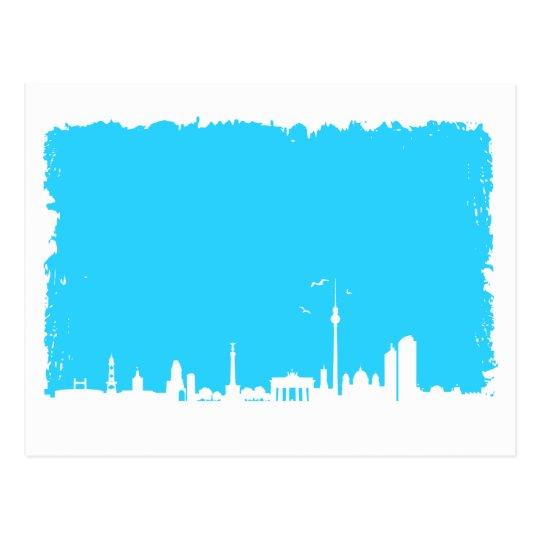 Berlin Skyline Farbe blau Postkarte