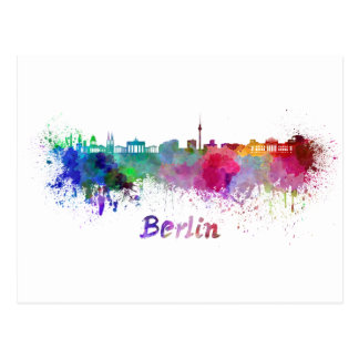 Berlin skyline im Watercolor Postkarte
