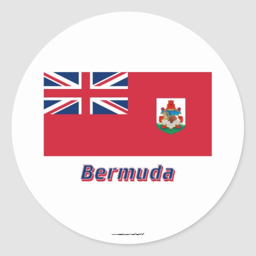 Bermuda-Flagge mit Namen Runder Sticker
