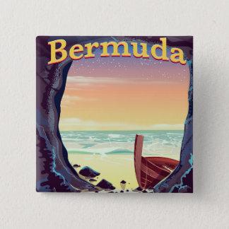 Bermuda-Piraten-Höhlenreiseplakat Quadratischer Button 5,1 Cm