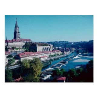 Bern, Münster und Fluss Aare, die Schweiz Postkarte