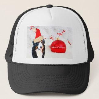 Bernese Gebirgshund mit roter Weihnachtsverzierung Truckerkappe