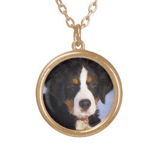 Bernese Gebirgshund - niedliches Welpen-Foto Halskette Mit Rundem Anhänger