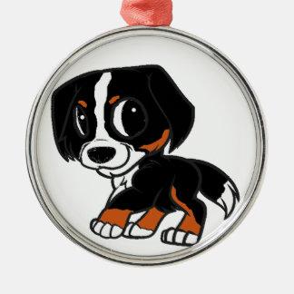 bernese GebirgshundeCartoonrost Rundes Silberfarbenes Ornament