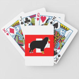 bernese GebirgshundeSilhouette auf Flagge Tan Bicycle Spielkarten