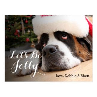 Bernhardiner-Hund mit Weihnachtsmannmütze Postkarte