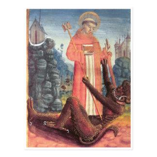 Bernhardiner überwindt den Teufel Postkarte