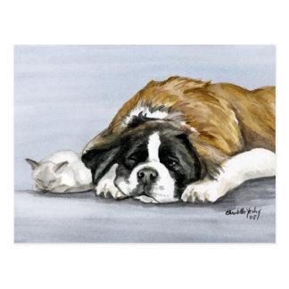 Bernhardiner- und Kätzchen-Hundekunst-Postkarte Postkarte