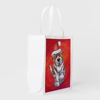 Bernhardiner-Weihnachten auf Rot Wiederverwendbare Einkaufstasche