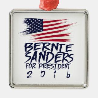 Bernie-Sandpapierschleifmaschinen für Präsidenten Quadratisches Silberfarbenes Ornament