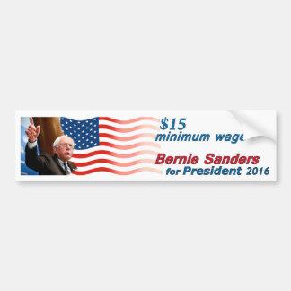 Bernie-Sandpapierschleifmaschinen: Mindestlohn $15 Autoaufkleber