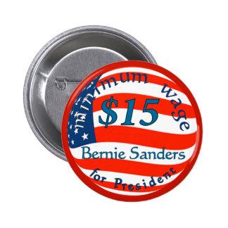 Bernie-Sandpapierschleifmaschinen, Mindestlohn $15 Runder Button 5,1 Cm